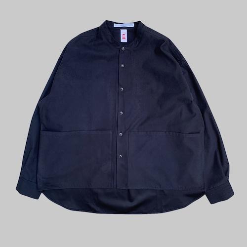 SUEDE LIKE BAND COLLAR SHIRT -BLACK-