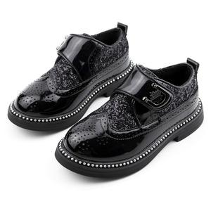 子供靴 レザーシューズ スパンコール マジックテープ 革靴 キッズ ジュニア シューズ 男の子  子ども  フォーマル 演出 パフォーマンス パンプス 黒7858