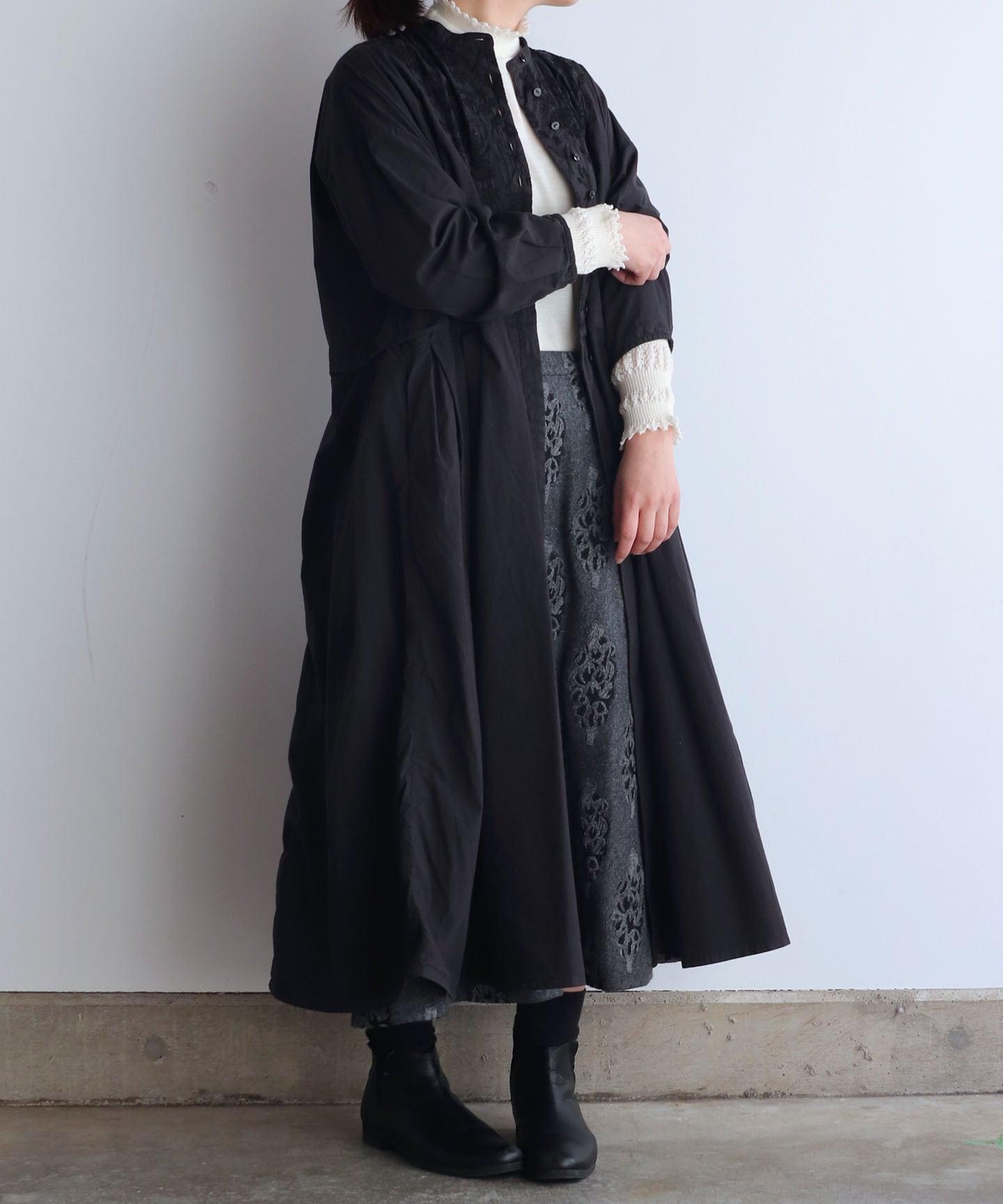 筆記帳刺繍 製品染め切り替えワンピースドレスコート(mua616)
