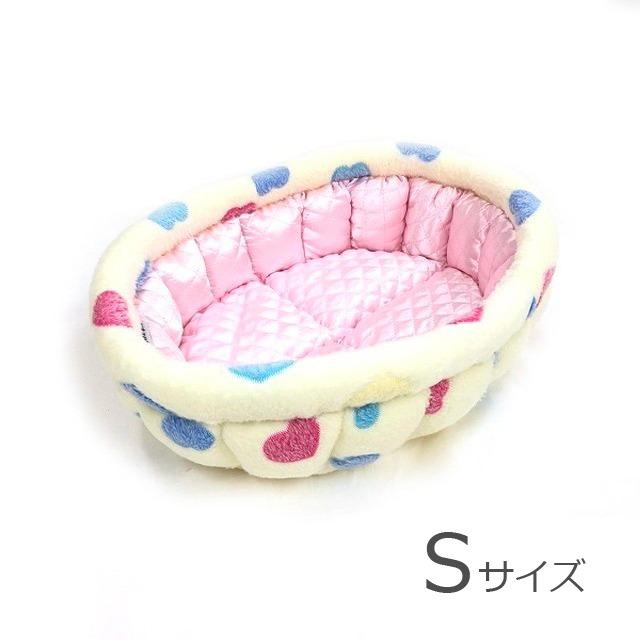 ふーじこちゃんママ手作り ぽんぽんベッド(サテンライトピンク・白ねこ柄) Sサイズ 【PB2-123S】