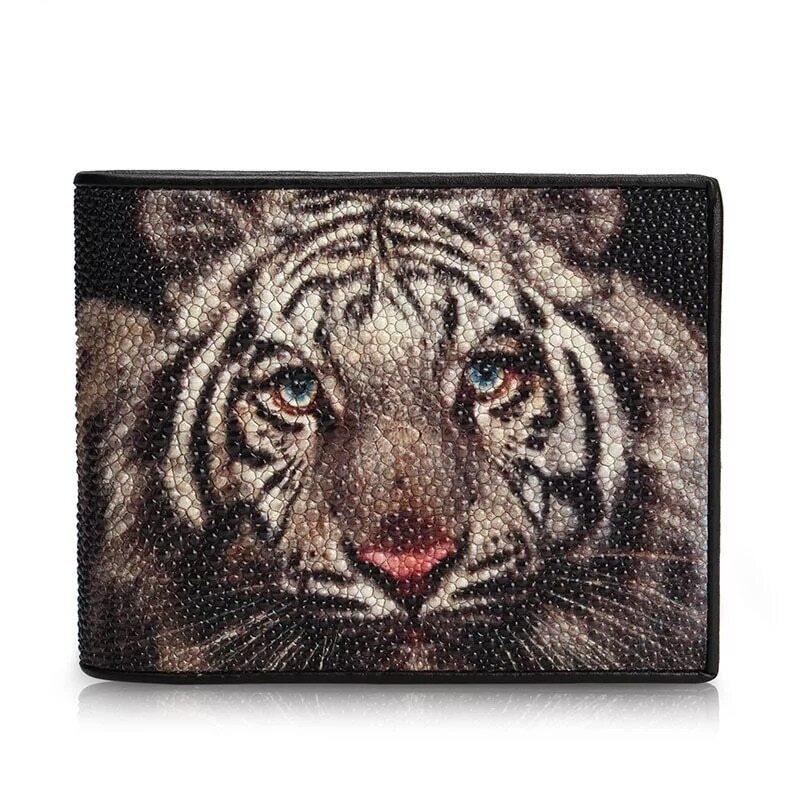 【エイ革財布】メンズ 二つ折り財布 クラッチ財布 虎 スティングレイ【金運アップ】