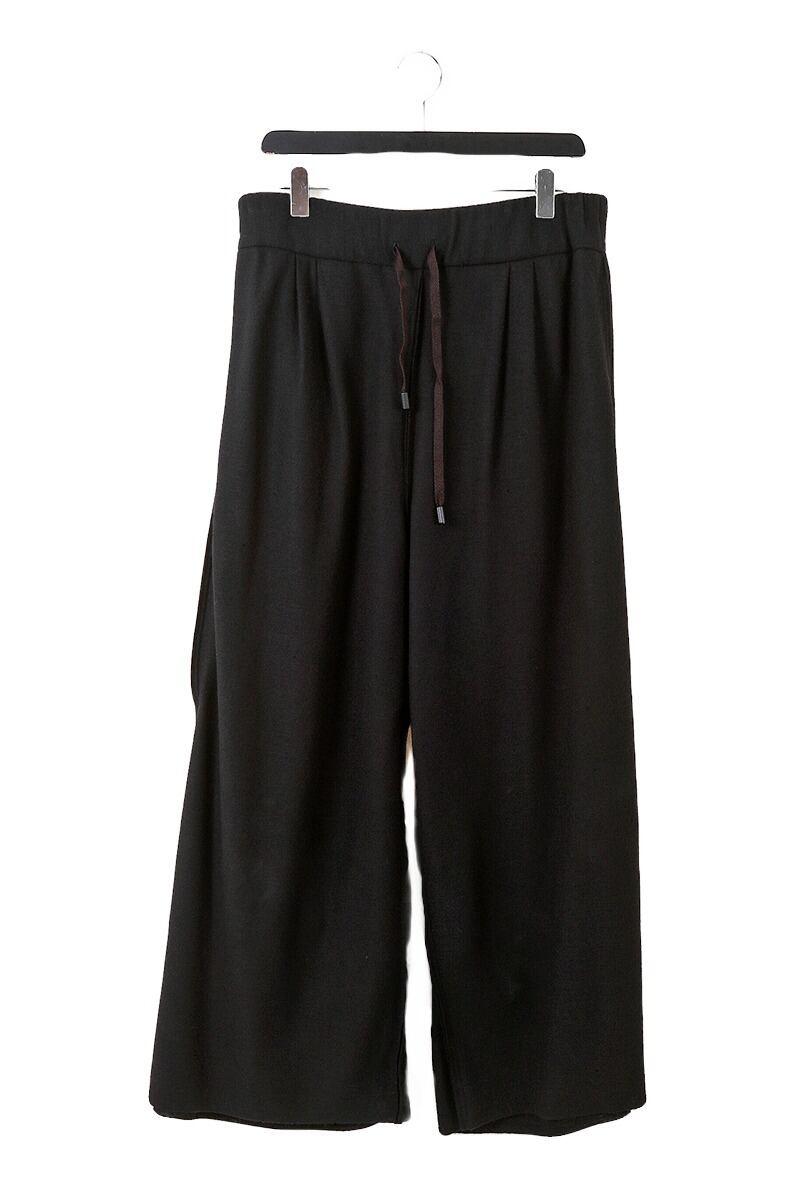 [受注生産]ウール: ワイドパンツ WIDE PANTS 黒 235068 ミハイルギニスアオヤマ[MADE IN JAPAN][税/送料込み]