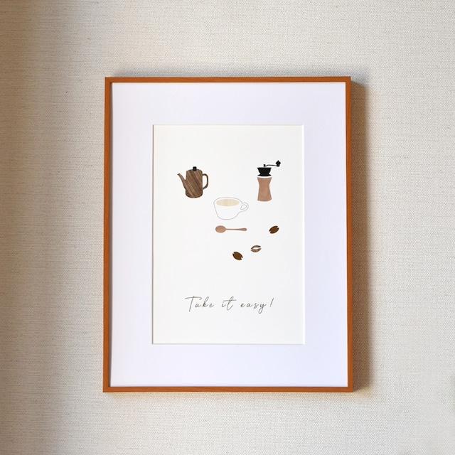 コーヒータイムのポスター♪ A4サイズ 木目 インテリア 北欧 おしゃれ