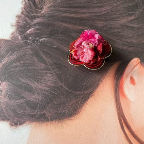 和風♡つまみ細工のお花(PK)と水引(RE)のヘアクリップ:E 1点   ベビークリップ 髪飾り ヘアアクセサリー 七五三 浴衣