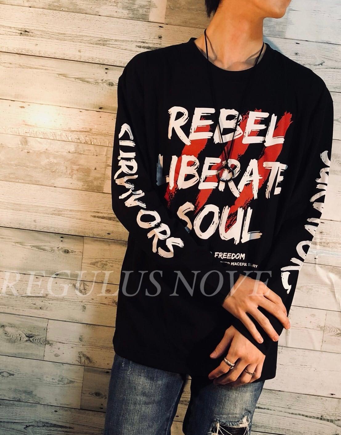 袖デザインBIGプリントロンT BLACK ユニセックス レディース メンズ ロンT 袖プリント 個性的 大きめ プチプラ