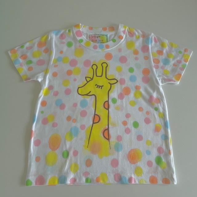受注制作 kidsTシャツ「キリン カラフルドット」80cm~140対応