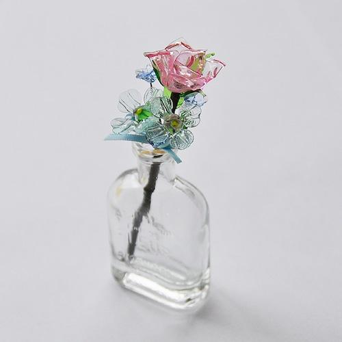 コピー:グラスフラワー プチブーケ(ピンクのバラと紫陽花/小瓶付き)