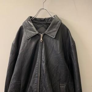 ROUNDTREE YORKE レザージャケット ジップアップ ブラック size L メンズ 古着