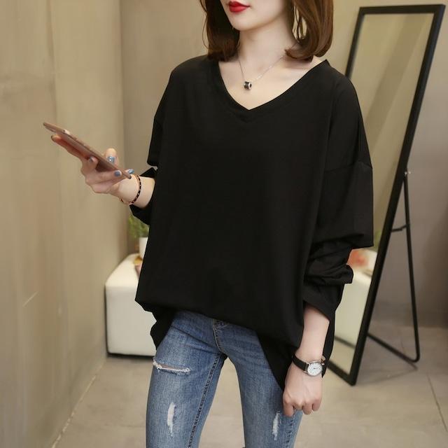 ラージサイズVネック長袖Tシャツ 6色 【200940】 大きいサイズあり