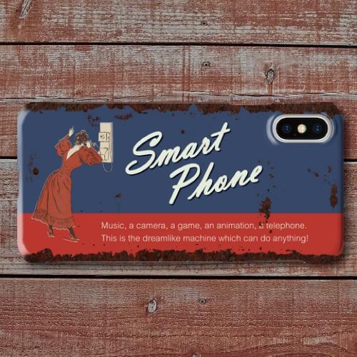 レトロポスター/アメリカンブリキ看板調/ヴィンテージ看板調/スマートフォン/ブルー・レッド/iPhoneスマホケース(ハードケース)