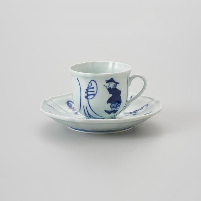 """【青花】""""間取異人"""" 木甲コーヒー碗皿"""