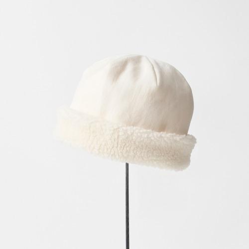 mature ha./hood cap organic cotton/natural×white