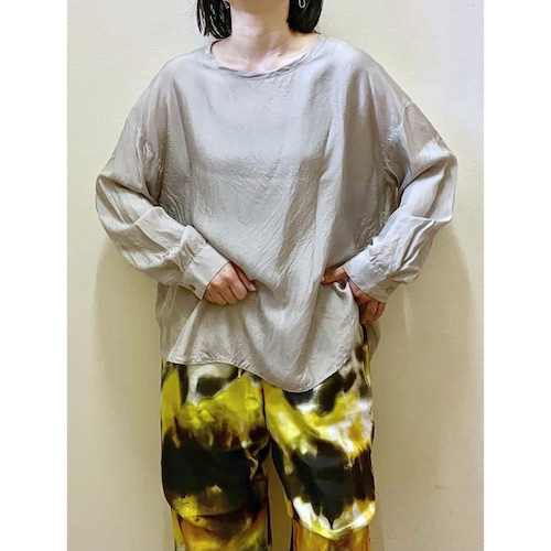 【hippiness】cupro long sleeve (silver)/【ヒッピネス】キュプラ ロングスリーブ(シルバー)