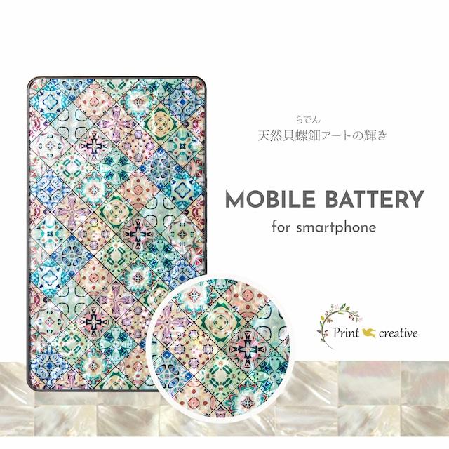 天然貝シェル★クッキーフェスティバル(モバイルバッテリー・携帯充電器)|螺鈿アート|全機種充電対応