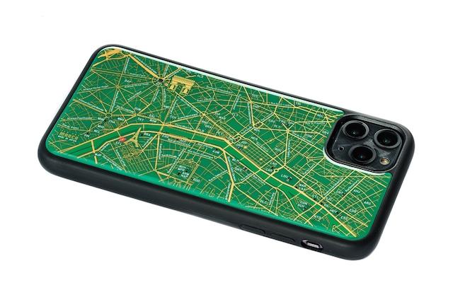FLASH Paris回路地図 iPhone 11 ProMax ケース  緑【東京回路線図A5クリアファイルをプレゼント】