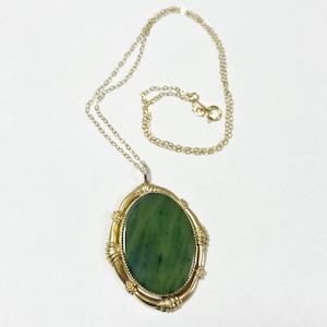 Vintage 12K GF BC Nephrite Pendant Necklace