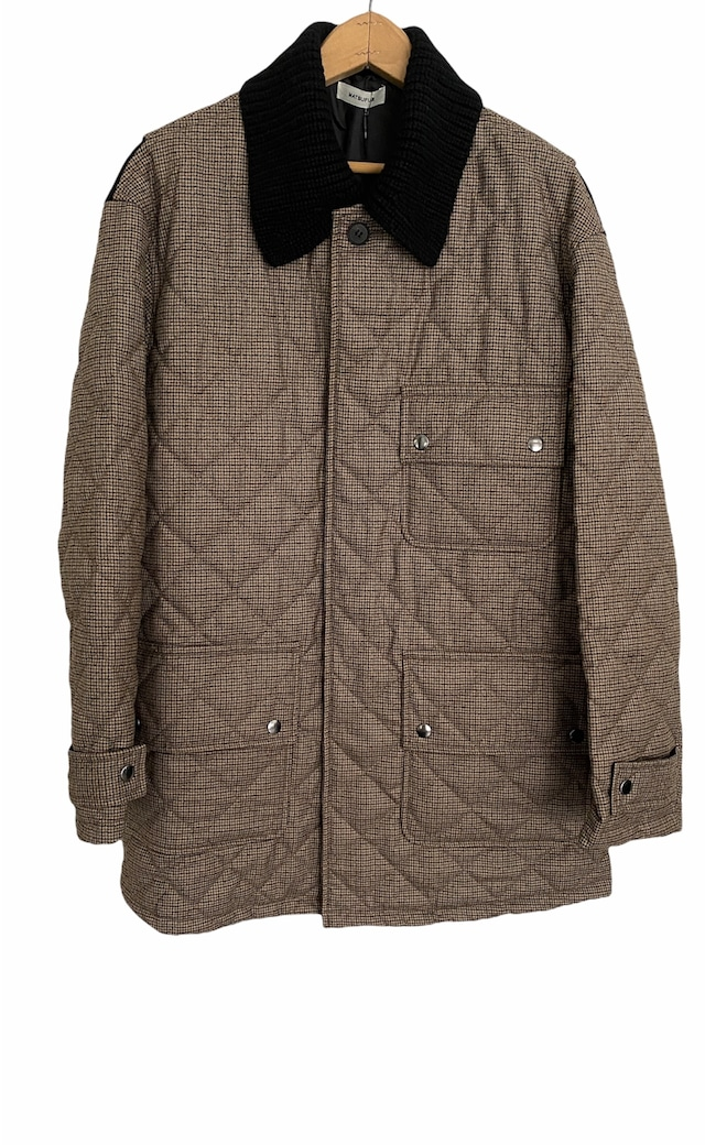 MATSUFUJI / Wool Quilted Knit Collar Coat(BROWN CHECK)