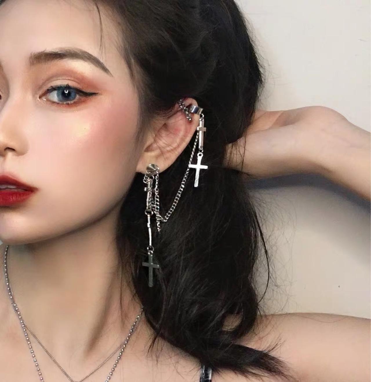 cross punk earrings