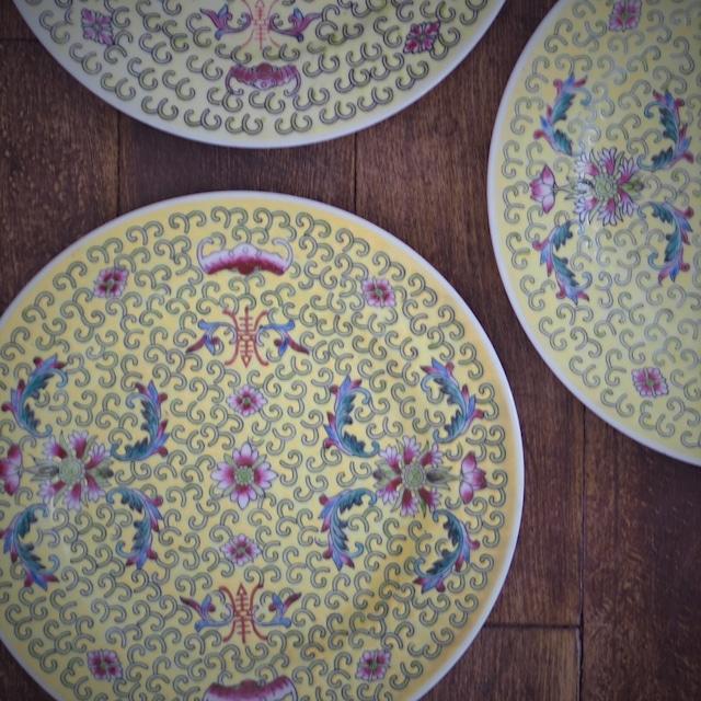 『華黄の丸皿18センチ』景徳鎮
