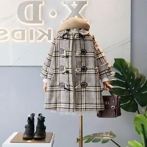 1523子供服 キッズ 冬コート ダッフルコート ジュニア 女の子 ジャケット 冬 防寒 ツイードコート アウター 子ども服