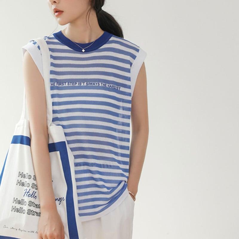 マリンボーダーシャツ   ボーダー ロング 薄手 韓国服 海