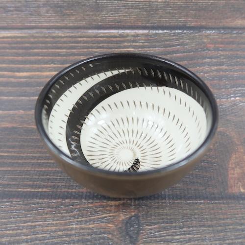 小石原焼 3寸珍味鉢 トビカンナ 茶黒渦 鶴見窯