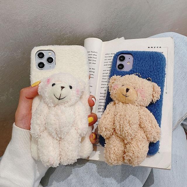 【小物】iPhone caseキュート動物プリント無地スマホケース42914060