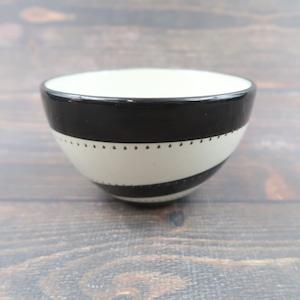 小石原焼 4寸多用鉢 トビカンナ 白黒渦 鶴見窯