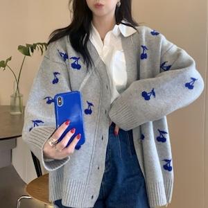 【アウター】SNSで話題沸騰!韓国系 ファッション シングルブレスト プリント ショート丈 カーディガン52726643