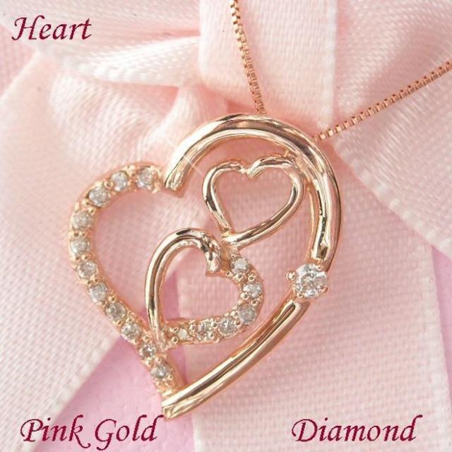 ダイヤモンド ネックレス ラインストーン オープンハート 18金 ピンクゴールド 天然ダイヤモンド