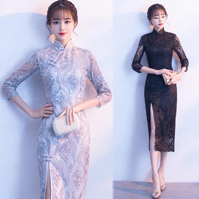 刺繍チャイナドレス レースワンピース 大きいサイズ S M L LL 3L 4L 4色選択 人気商品