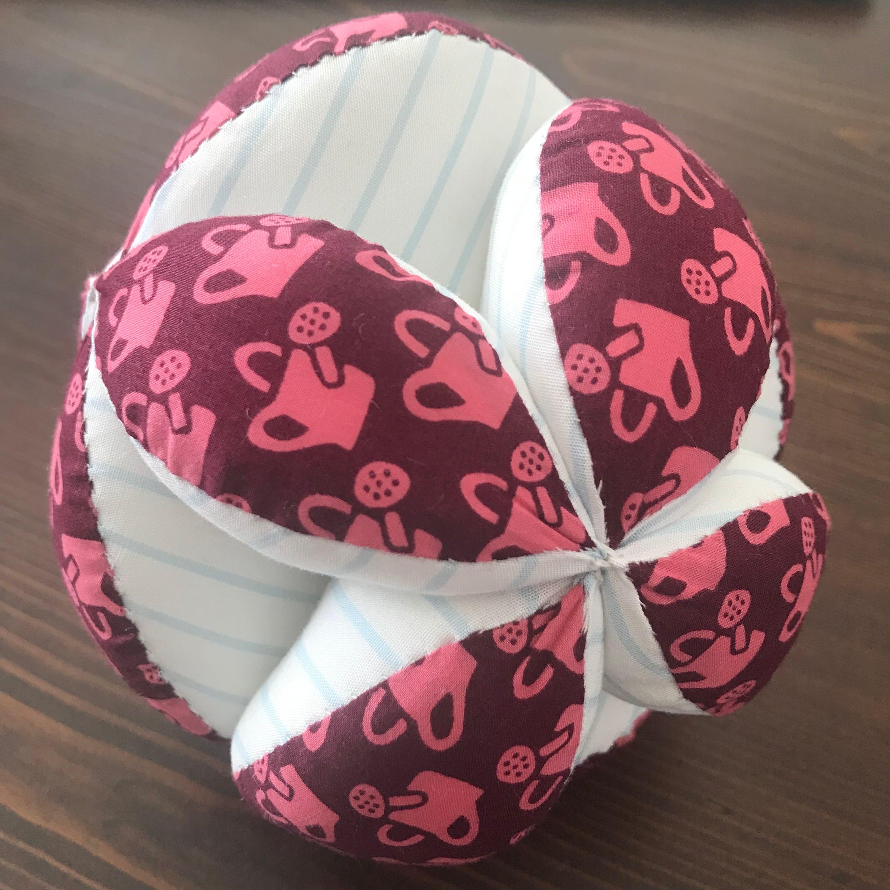 キッキングボール ジョウロ柄(赤)×ボーダー柄(水色)