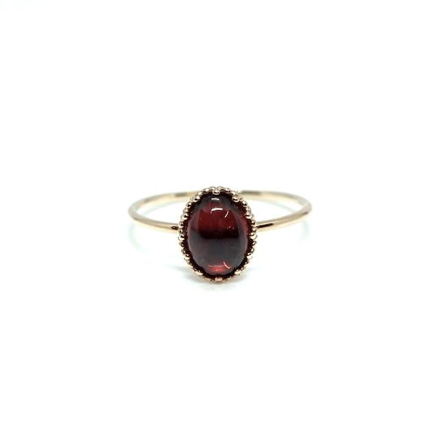 granulation 8×6 gem ring - Garnet