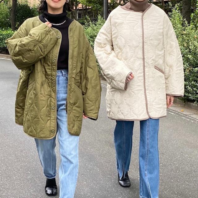 ◆即納/予約◆ノーカラーパイピング中綿キルティングジャケットライナーコート OP-t266