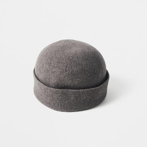 mature ha./thin knit felt cap lamb/charcoal brown