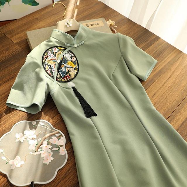 【俏娘魚シリーズ】★チャイナドレス★ 刺繍 普段着 デート 成人式 パーティー ワンピース 緑 グリーン