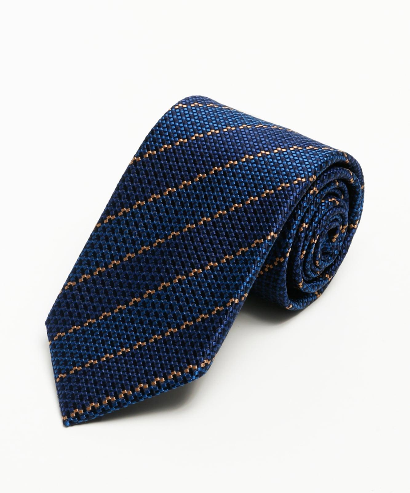Franco Spada 2色使い変わり織りストライプ:ブルー+オレンジ