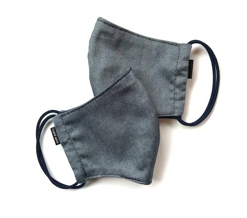 【新作夏用プリントデニムマスク2枚セット 吸水速乾COOLMAX使用 日本製】オーシャンブルー色