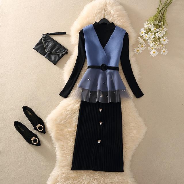 セットアップ ニット 3点セット トップス+ベスト+スカート フェミニン エレガント ブラック+ブルー S M L XL