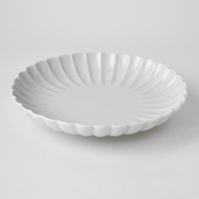 白高麗菊彫六寸皿