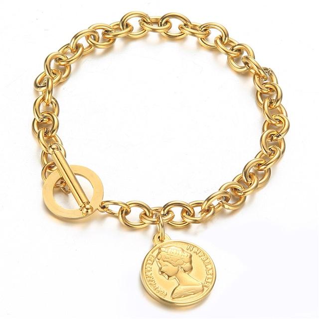 316L Coin Pendant Bracelet 【GOLD】