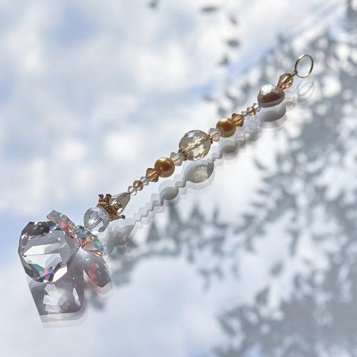 【ゴールド系】スワロフスキー ベルトップクリスタルの天使サンキャッチャー