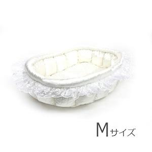 ふーじこちゃんママ手作り ぽんぽんベッド (サテンホワイト)Mサイズ【PB1-002M】