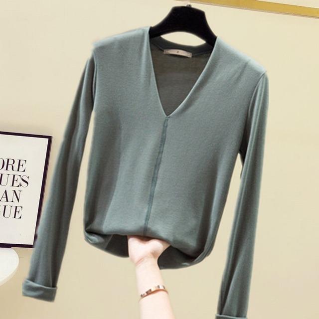 Vネックのびのび長袖Tシャツ 6色 【201002】 大きいサイズあり