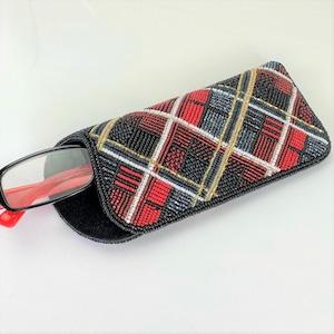 眼鏡ケース081赤チェック柄ビーズ刺繍