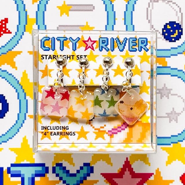 プラバン 星スター ドット絵 CITY RIVER イヤリング 4点セット