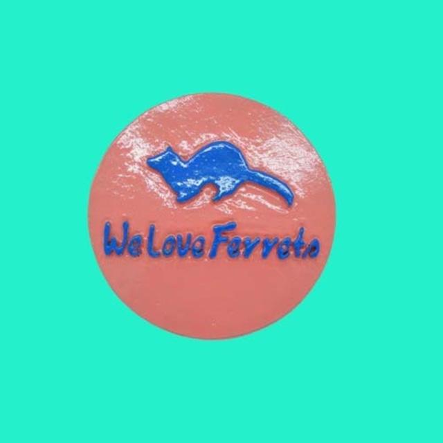 We Love Ferrets マグネットステッカー ⑩キャスト製(直径80mm)(ピンク・文字:ブルー)無料配送