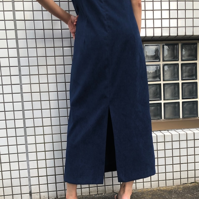 Navy vintage long dress