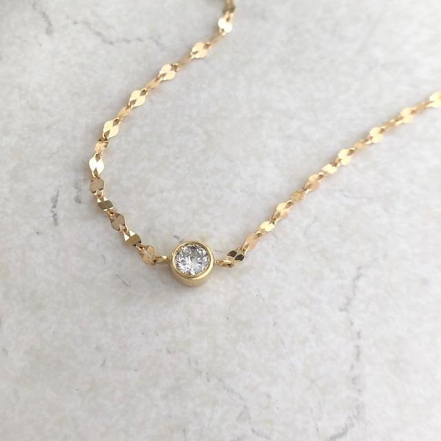 ペタルチェーン ダイヤモンド ブレスレット 0.05ct K18イエローゴールド チェカ