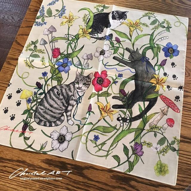 ハンカチ・バンダナ「猫たち・花たち」柄 にゃんこモチーフの大判ハンカチ